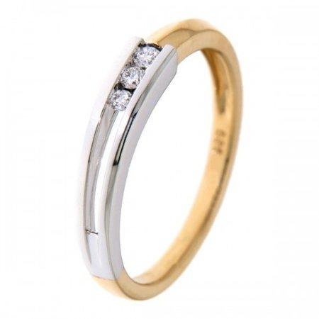HuisCollectie HuisCollectie Ring 14k bicolor met 3 diamant 0.08 crt 601850