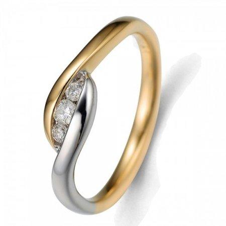 HuisCollectie HuisCollectie Ring 14k bicolor met 3 diamant 0.10 crt 601852
