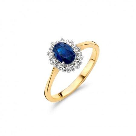 HuisCollectie HuisCollectie Ring 14k Geelgoud met 0.25ct Diamant en Blauwe Saffier 23430