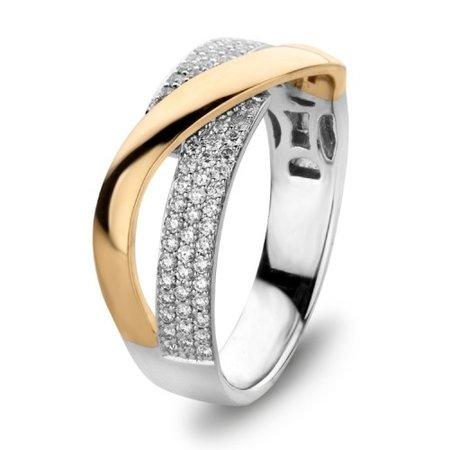 HuisCollectie HuisCollectie Ring 14k bicolor met diamant totaal 0.37ct H/Si 602519