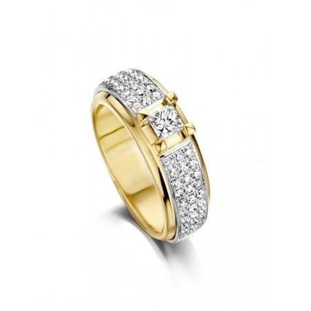 HuisCollectie HuisCollectie Ring 14k geelgoud met princes diamant en briljant 0.97ct H/Si