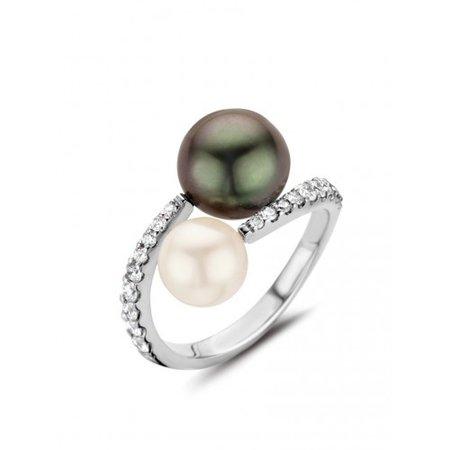 HuisCollectie HuisCollectie Ring 14k witgoud met 0.45ct diamant en tahiti en akoyaparel 22988