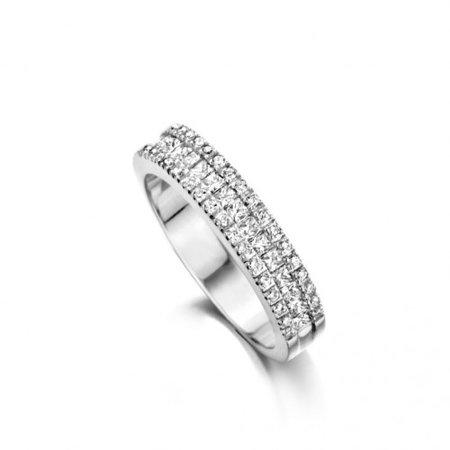 HuisCollectie HuisCollectie Ring 14k witgoud met 0.80ct briljant en princess G/Si diamant