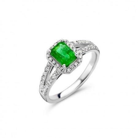 HuisCollectie HuisCollectie Ring 14k witgoud met smaragd en 0.45ct briljant G/SI 25268