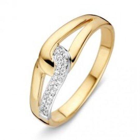 HuisCollectie HuisCollectie Ring bicolor goud 14k diamant 0.08 crt 603418