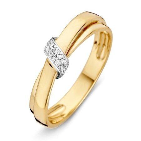 HuisCollectie HuisCollectie Ring bicolor goud 14k diamant 0.09crt RP415784