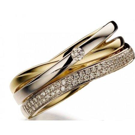 HuisCollectie HuisCollectie Ring bicolor goud 14k diamant 0.30H/Si 602340