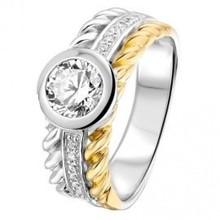 HuisCollectie HuisCollectie ring zilver met 14k geelgoud en zirkonia RF625208