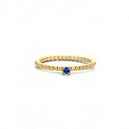 MissSpring Miss Spring 14K geelgouden bolletjesring met blauwe saffier MSR601-S-SA