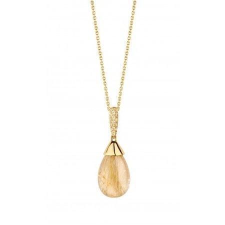 HuisCollectie HuisCollectie Collier geelgoud 14k met rutielkwarts 0.10ct Diamant 7697-1023
