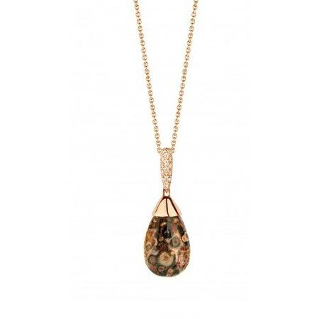 HuisCollectie HuisCollectie Collier rosegoud 14k met jaspis 0,10ct Diamant 7697-30v3