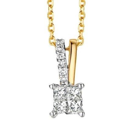 HuisCollectie HuisCollectie hanger bicolor goud 14k met diamant 0.46ct HSI HG415617
