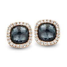 Tirisi Moda TIRISI Oorstekers Milano 18k Roségoud met 0.16ct diamant en Hematiet TE9226HMP