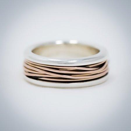 Vinx VINX Ring zilver met 14k rosegouden draad Halina 4008ZG