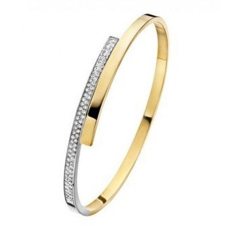 Fjory FJORY Armband 14k geel- witgoud 3mm vlak verspringend 0.78ct diamant 41-A376103-0.78