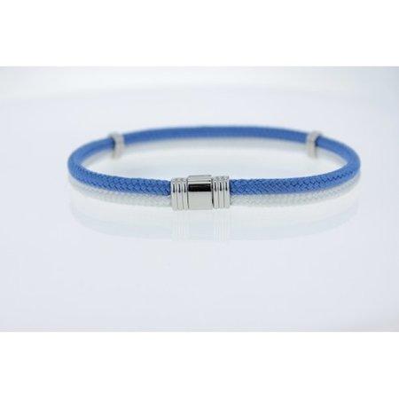 Albanu Albanu Armband 2-rijig blauw/wit gevlochten cordon met stalen sluiting 30.05.79