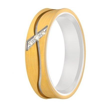 Aller Spanninga Aller Spaninga trouwringen 14k Bicolor geel wit goud 995