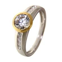 HuisCollectie HuisCollectie ring zilver met 14k geelgoud en zirkonia RF625153