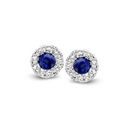 HuisCollectie Huiscollectie blauw saffier Oorstekers diamant 0.10H/SI 14k witgoud 606258
