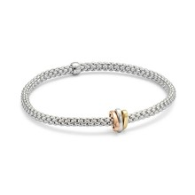 Fope FOPE Armband Flex-It Prima 18k witgoud 744B M met tricoler ornament