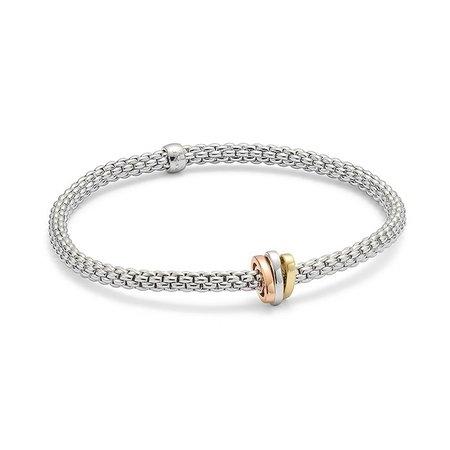 Fope FOPE Armband Flex-It Prima 18k witgoud 744B M met tricoler ornament