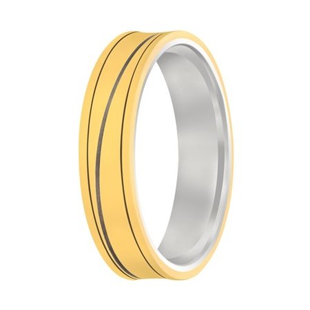 Aller Spanninga Aller Spaninga trouwringen 14k Bicolor geel wit goud 976