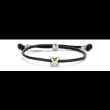 Tirisi Moda TIRISI Armband zwart leer met zilver en 18k roségoud en diamant TM2133BL-2P - Copy