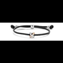 Tirisi Moda TIRISI Armband zwart leer met zilver en 18k rosegoud  TM2130BL-2P