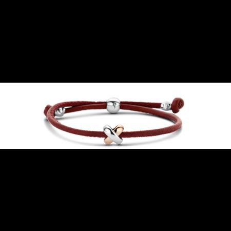 Tirisi Moda TIRISI Armband rood leer met zilver en 18k rosegoud  TM2130DR