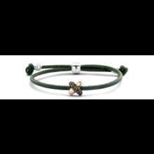 Tirisi Moda TIRISI Armband groen leer met zilver en 18k roségoud en Markasiet TM2135DG -2T