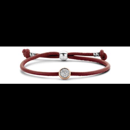 Tirisi Moda TIRISI Armband bordeaux leer met zilver en 18k roségoud en diamant TM2180DR-2p