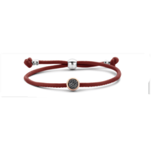 Tirisi Moda TIRISI Armband zwart leer met zilver en 18k roségoud en diamant TM2133BL-2P - Copy - Copy - Copy