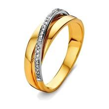 HuisCollectie HuisCollectie Ring bicolor goud 14k diamant 0.08 crt RP415783 - Copy - Copy