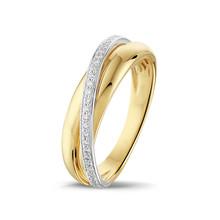HuisCollectie HuisCollectie Ring bicolor goud 14k diamant 0.16 crt H/Si 606284