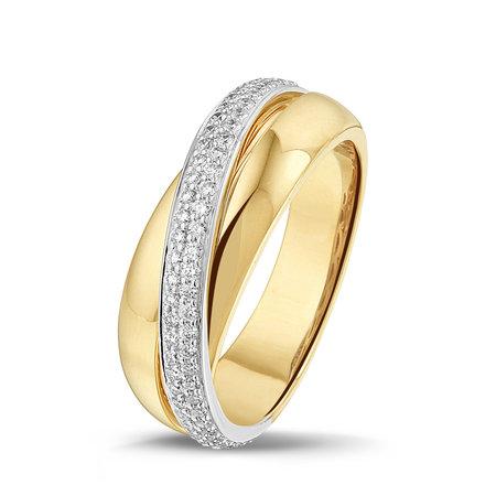 HuisCollectie HuisCollectie Ring bicolor goud 14k diamant 0.40crt H/Si 606283