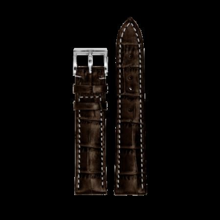 MeisterSinger MEISTERSINGER horlogeband 20MM Donker bruin met wit stiksel SG02W