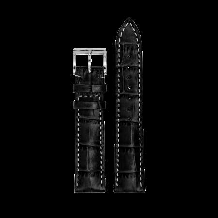 MeisterSinger MEISTERSINGER horlogeband 20MM zwart met wit stiksel SG01W