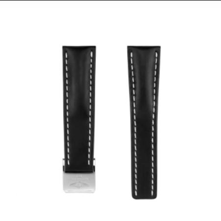 Breitling Breitling horlogeband 24MM Zwart kalfsleer voor vouwslot 442X