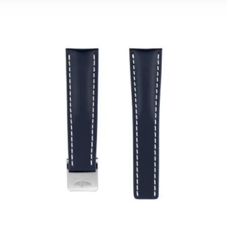 Breitling Breitling horlogeband 20MM Blauw kalfsleer voor vouwslot 115X