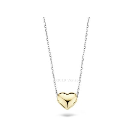 Blush Blush collier 14krt witgoud met geelgouden hart 3062BGO