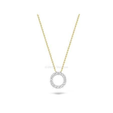 Blush Blush collier 14krt geelgoud met witgouden ronde zirkonia hanger 3065BZI