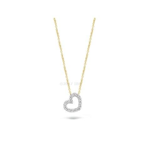 Blush Blush collier 14krt geelgoud met witgouden zirkonia hart 3072BZI