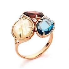 Monzario Monzario Colors Ring 18k roségoud met  granaat, rutielkwarts, london blue topaas en diamant 606238