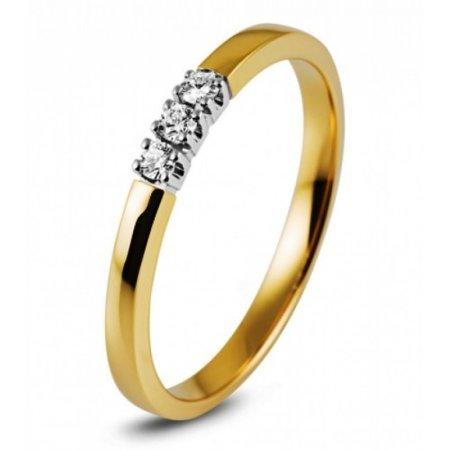 R&C R&C Ring Carole 14k Geelgoud met 0.21ct P/W diamant RIN1707-3-PW007-GGWG