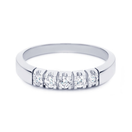 R&C R&C Ring Carole 14k Witgoud met 0.10ct P/W diamant RIN1702-5-PW-WG