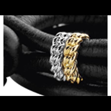 Tirisi Moda TIRISI  Sluiting zilver met 18 karaat geelgouden gourmet schakel TM2160(2T)
