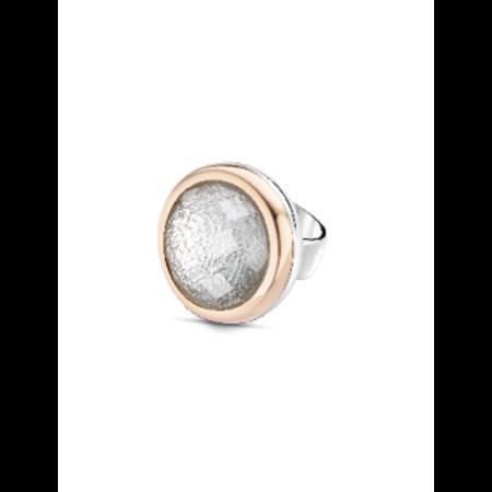 Tirisi Moda TIRISI  Schuif zilver met 18 karaat rosegoud met wit facet TM6083KR(2P)