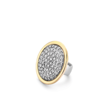 Tirisi Moda TIRISI  Schuif zilver met 18 karaat geelgoud met pavee briljant TM6161D(2T)