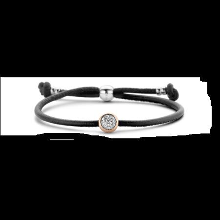 Tirisi Moda TIRISI Armband zwart leer met zilver en 18k roségoud en diamant TM2180BL-2p