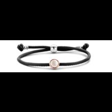 Tirisi Moda TIRISI Armband zwart leer met zilver en 18k roségoud en diamant TM2133BL-2P - Copy - Copy - Copy - Copy